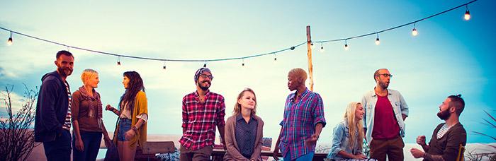 Diversity Sundown Beach Chatting Roof Top Fun Concept