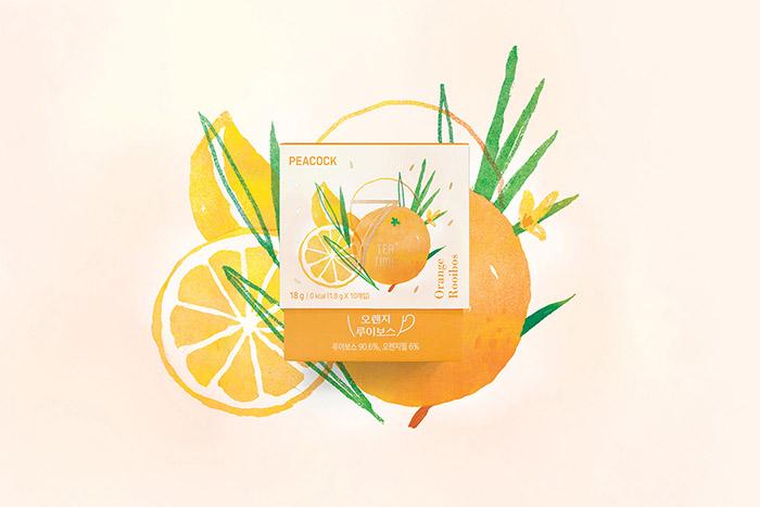 SSG PEACOCK 7 TEA TIME Blending tea 7ea Package design.  Designed by: TRIANGLE STUDIO, Korea.